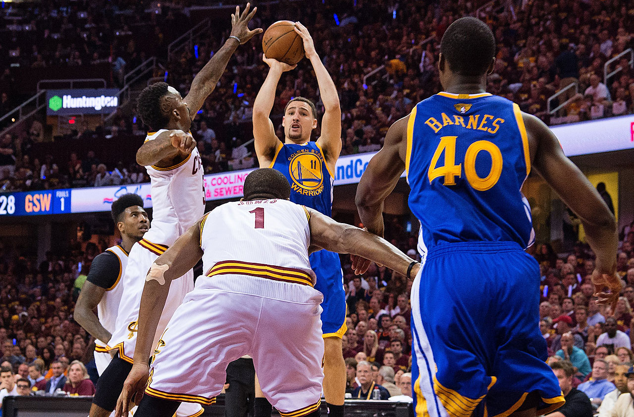 Klay Thompson scored five points for Golden State before fouling out late in the fourth quarter.