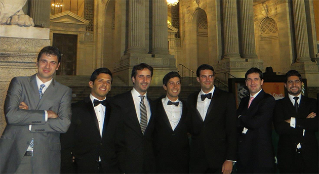Ancic (first from left) poses with his classmates from the Columbia Law School outside the New York Public Library.