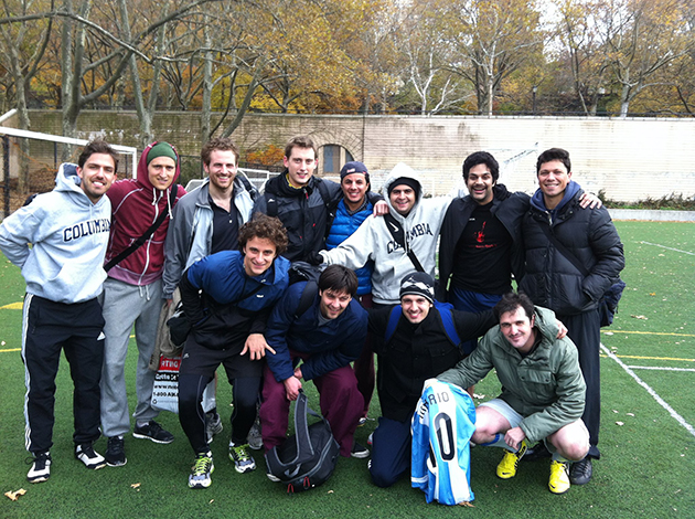 Ancic (sitting second from right) after a soccer game in New York.