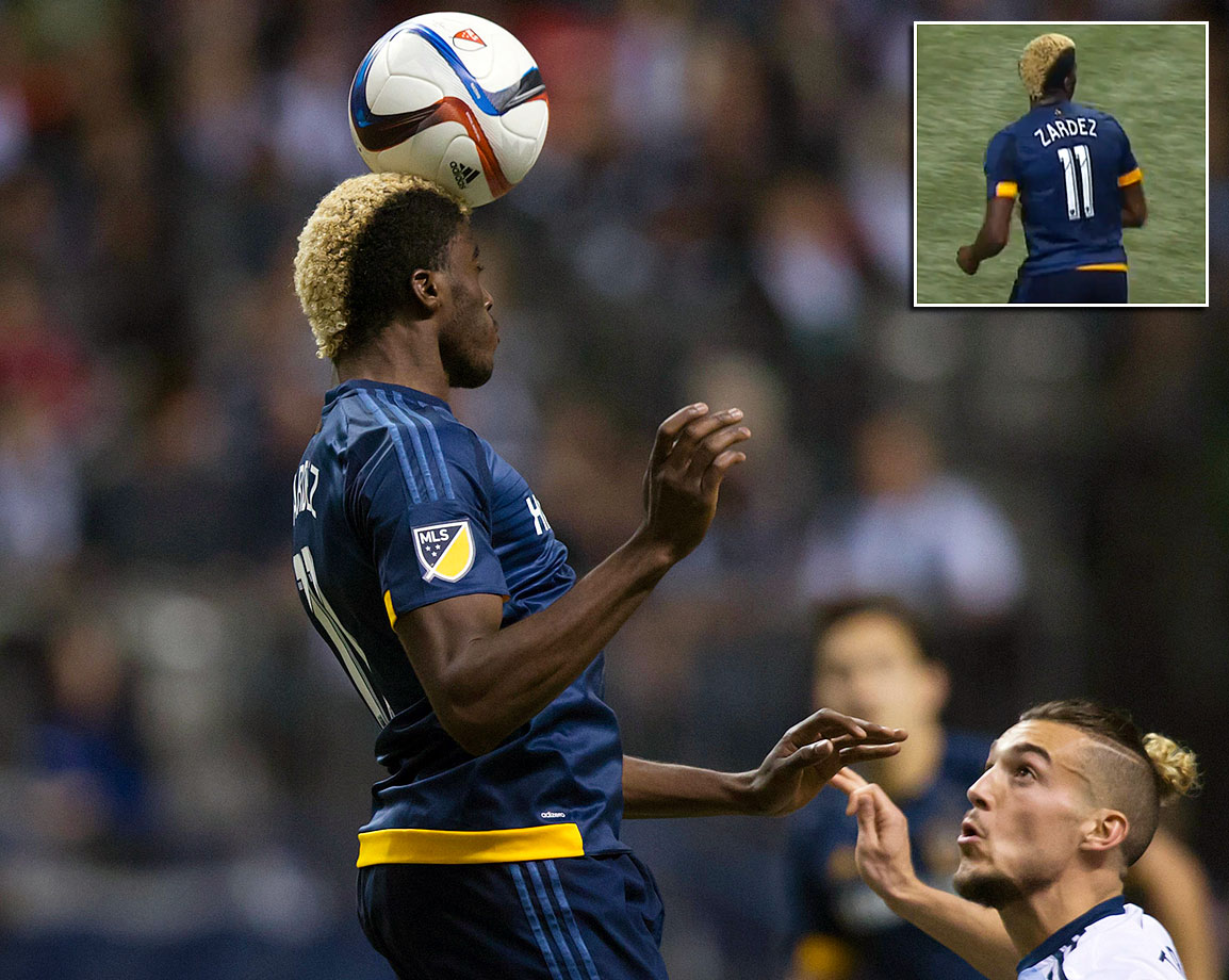 "On a night when nothing went right for the LA Galaxy, the jersey of forward Gyasi Zardes was misspelled with a ""Z"" at the end of his name during a 2-0 loss the the Vancouver Whitecaps on April 4, 2015."