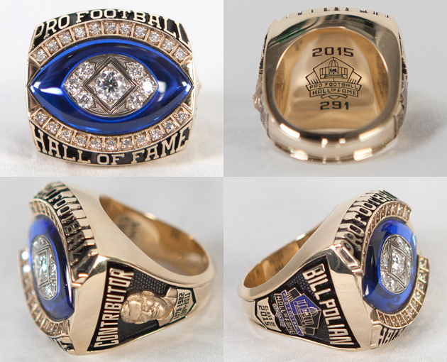 Polian's Hall of Fame ring, designed by KAY Jewelers, includes a likeness of his HOF bust, mentions his 2015 class, and has the number 291 -- a special arbormark that aligns with his status as the 291st member of the HOF.
