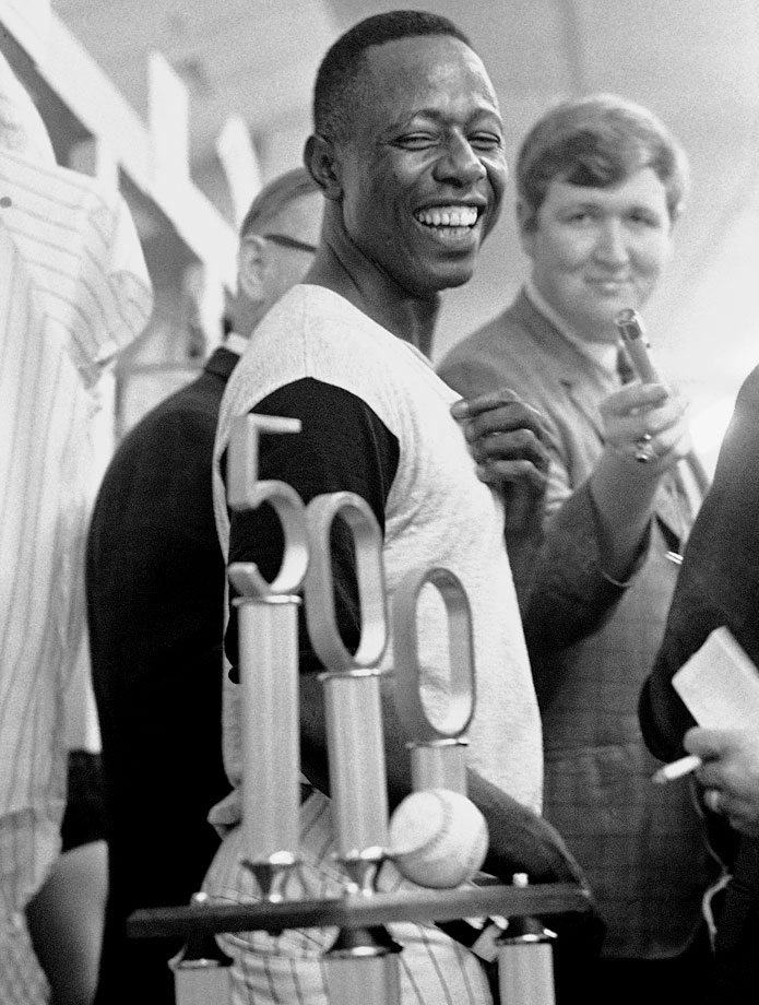Hammerin' Hank never hit as many as 50 homers in a season, but he did hit 40 or more eight times. He became the eighth member of the club on July 14, 1968, in Atlanta with a three-run homer off San Francisco's Mike McCormick.