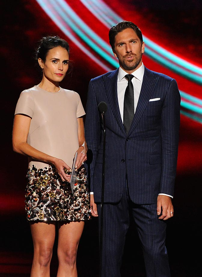 LOS ANGELES, CA - JULY 16:  Actress Jordana Brewster (L) and NHL player Henrik Lundqvist speak onstage during the 2014 ESPYS at Nokia Theatre L.A. Live on July 16, 2014 in Los Angeles, California.  (Photo by Kevin Winter/Getty Images)