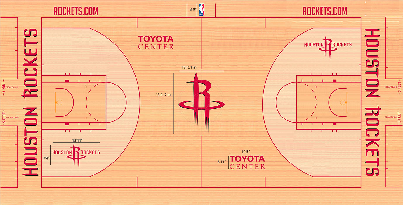 Houston has an aversion to paint. The Rockets logo in the center—stretching over 18 feet tall—offers a bit of something different from the purely circular logos found aplenty across the NBA. Points for originality, though, as the Rockets serve as the only NBA team without an area of solid paint at least out of bounds or in the key.