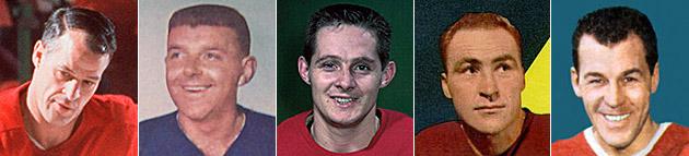 Gordie Howe, Gump Worsley, Dutch Reibel, Red Kelly, Butch Bouchard