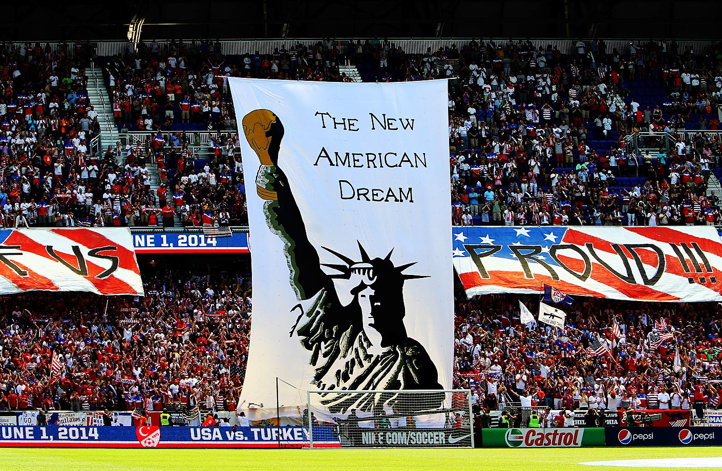 The American Outlaws unveil a huge tifo ahead of a 2014 World Cup send-off match between the USA and Turkey at Red Bull Arena in Harrison, N.J.