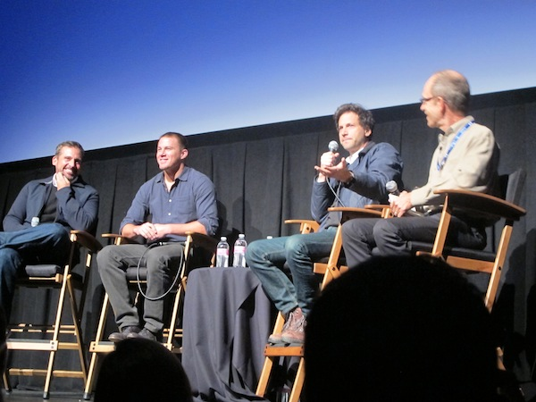 Steve Carrell and Channing Tatum with Foxcatcher director Bennett Miller at the Telluride Film Festival