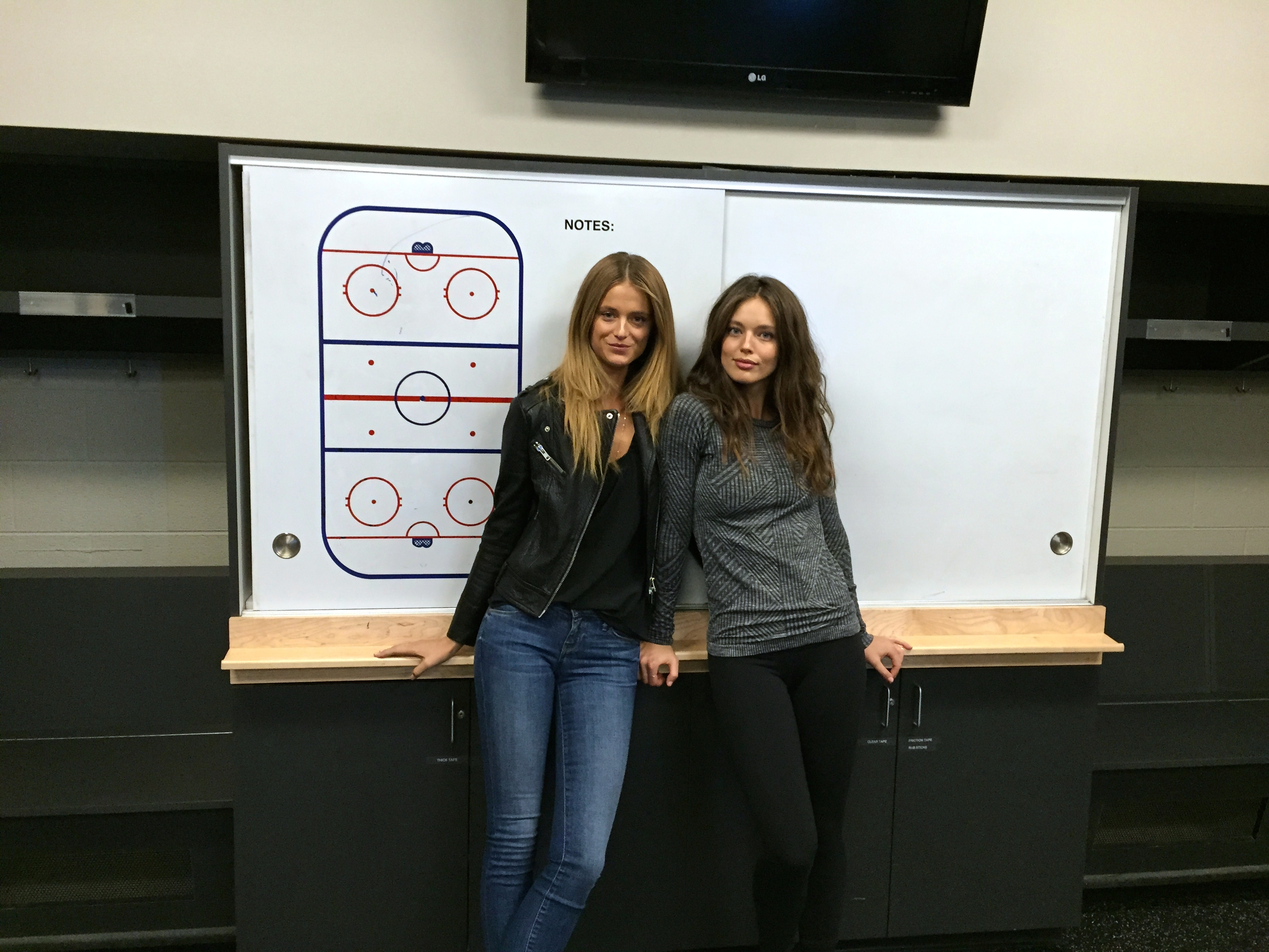 Kate Bock and Emily DiDonato visit the Preds locker room.