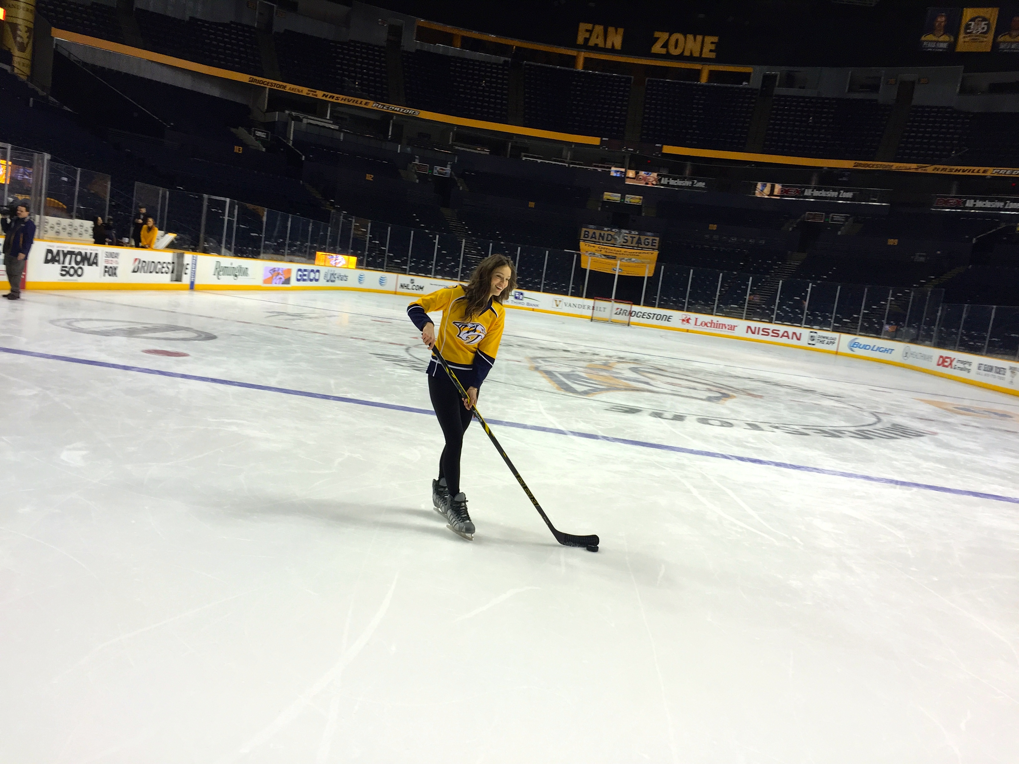 Emily DiDonato learns to perfect her slap shot.