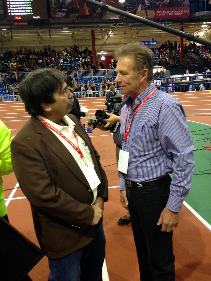 Steve Cuomo, coach and founder of Rolling Thunder, a special needs running club based in Long Island, chats with Eamonn Couglin, Irish senator and seven-time winner of the Millrose Games's Wanamaker Mile. Rolling Thunder is expanding into a national program this year, with plans to open chapters in other cities across the U.S.