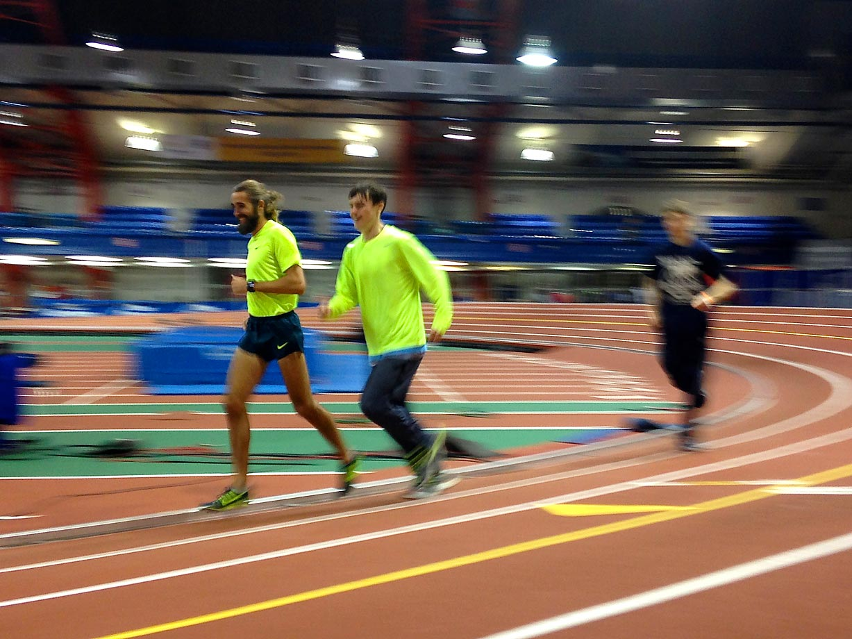 After the NYRR Millrose Games concluded, Mikey Brannigan, right, ran a few cool-down laps with pro runner Will Leer, winner of last year's Wanamaker Mile.