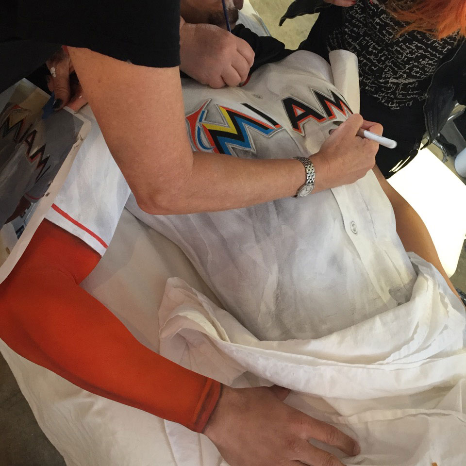 Erin Heatherton's view of Giancarlo Stanton's body-paint session