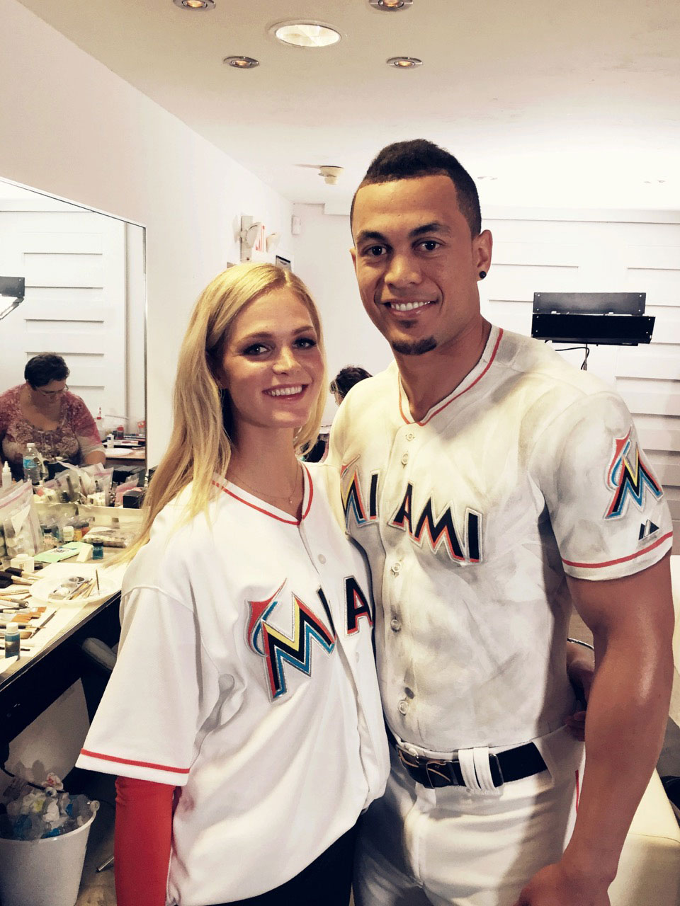 Erin Heatherton and Giancarlo Stanton on set