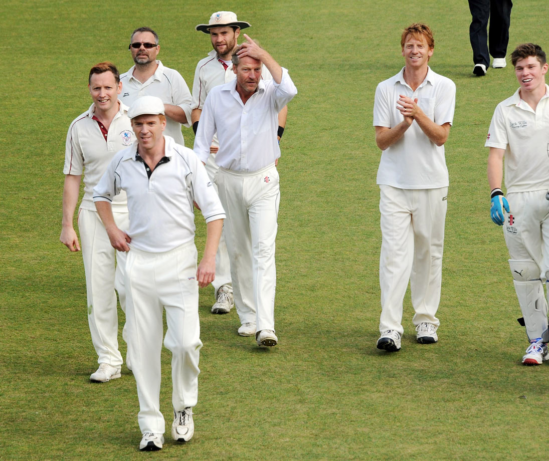 Iain Glen takes the field with members of the actors team, including Rufus Wright, Nigel Walker, Damian Lewis, Peter Sandys-Clarke, Gareth Lewis and Sam Browne during the first ever 'Words For Wickets' festival at The Wormsley Estate on Sept. 7, 2013 in London.