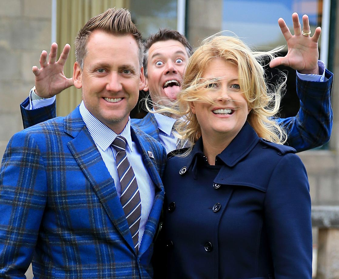 Ian Poulter and his wife, Katie, gets photobombed by Lee Westwood.