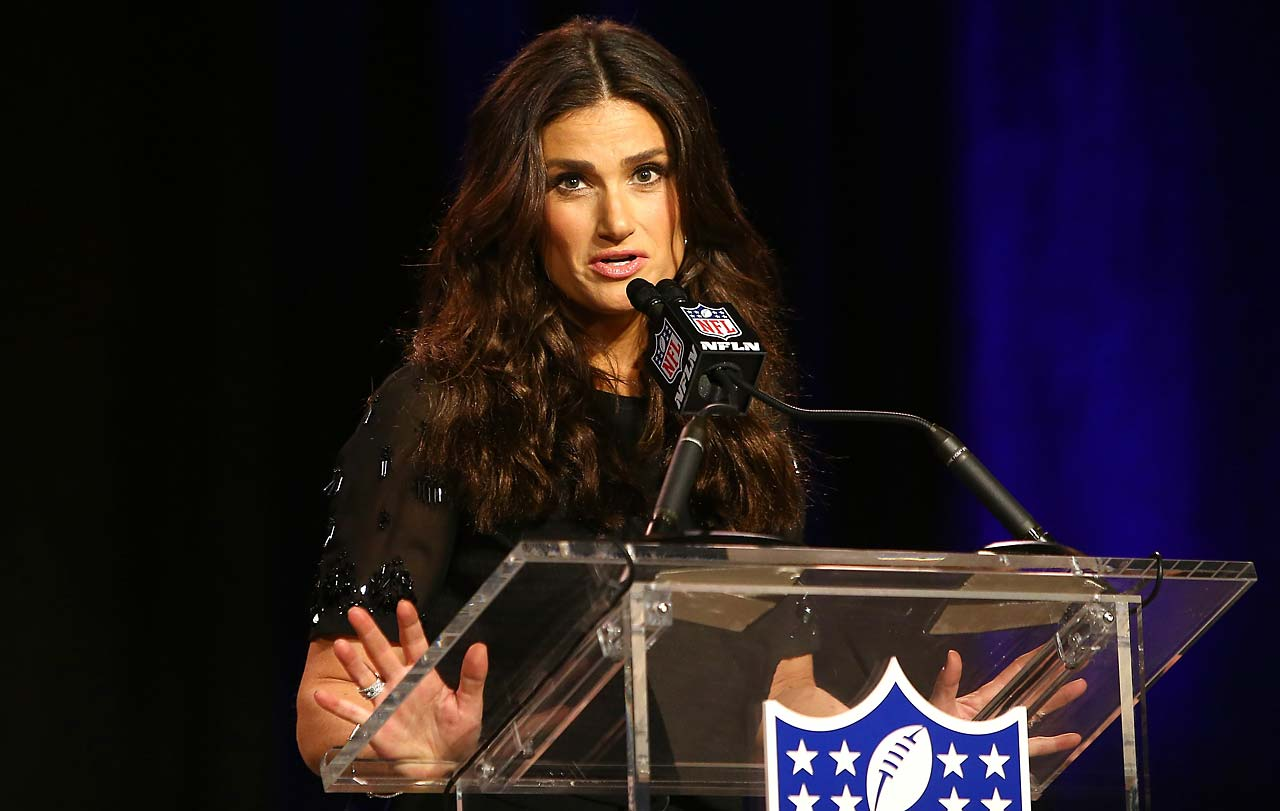 Actress and singer-songwriter Idina Menzel speaks during the Super Bowl XLIX Pregame Show Press Conference on Thursday.