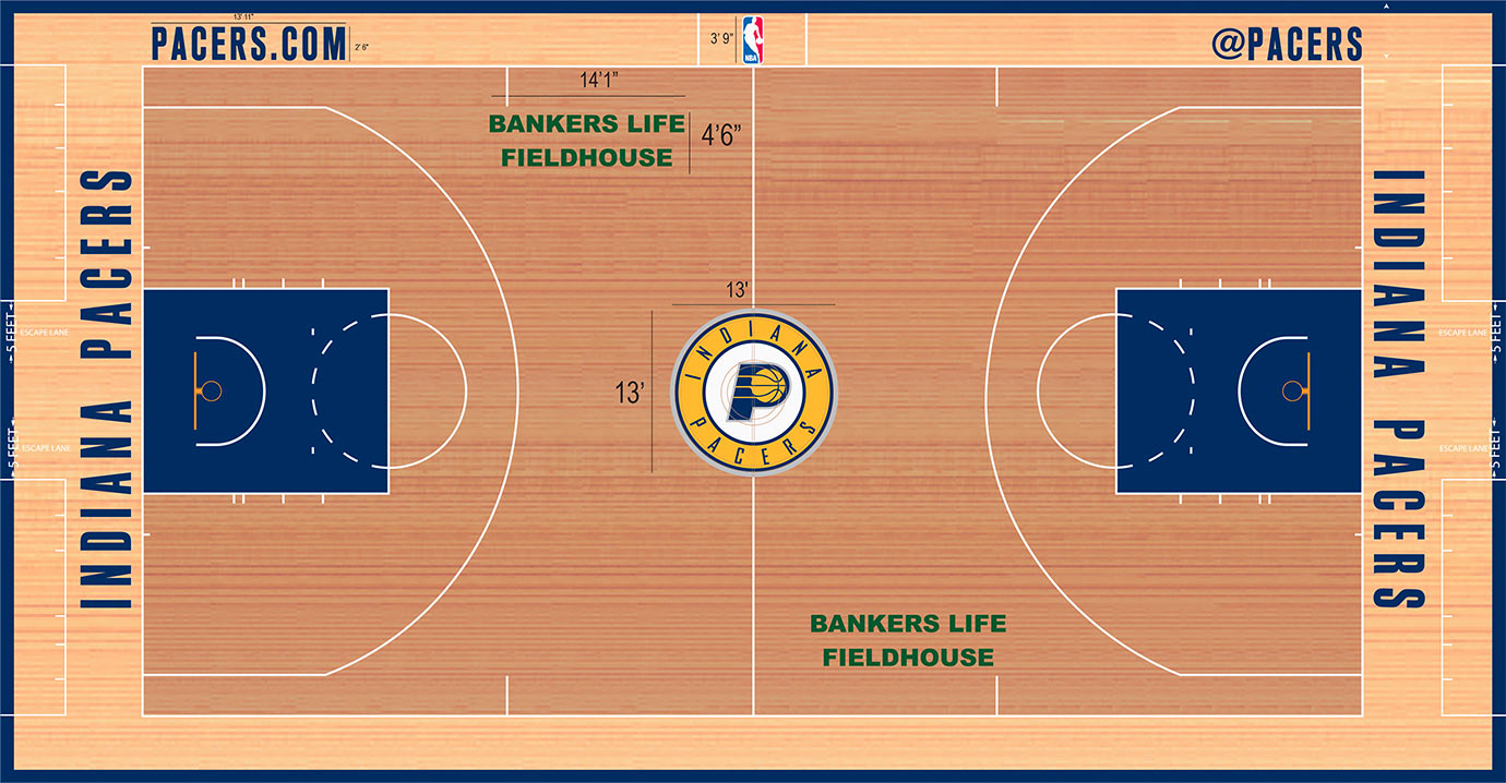 The floor is clean and classic, just what you'd expect from Indiana. The 13 by 13 logo is one of the smallest in the league, and without any other markings—other than the arena name—this is one of the least adorned floors in the NBA.