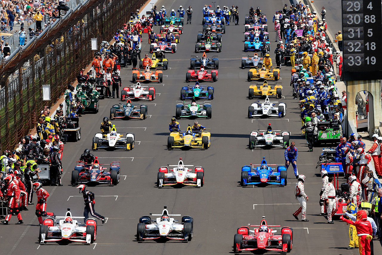 The cars roll off the grid just ahead of the Indianapolis 500.
