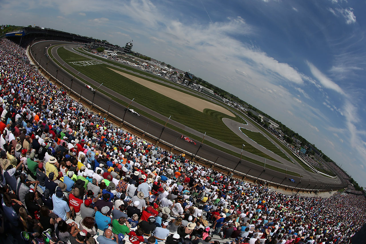A general view of racing during the 99th running of the Indianapolis 500.