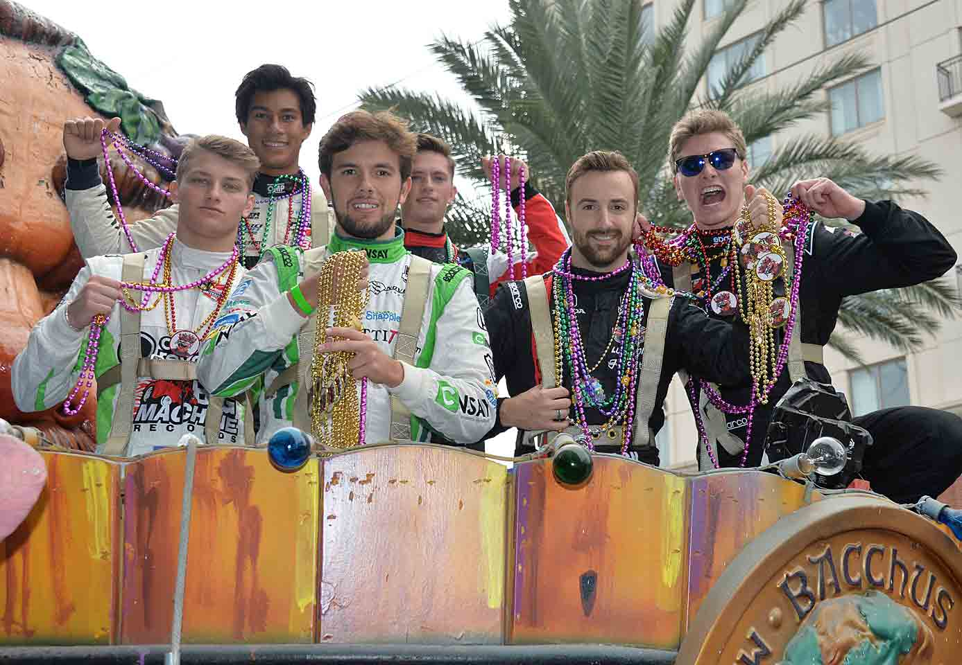 From left to right: Sage Karam, Neil Alberico, Carlos Munoz, Aaron Telitz, James Hinchcliffe and Josef Newgarden locked, loaded and ready to throw.