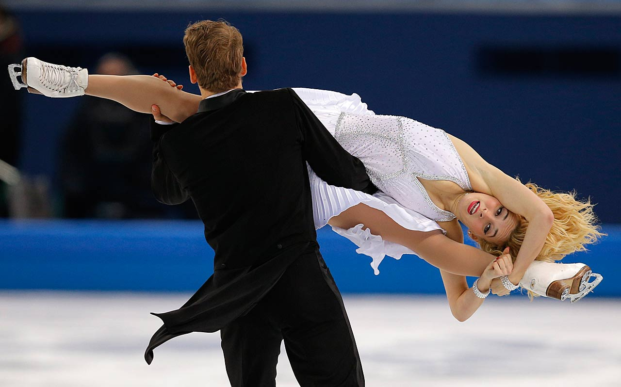Isabella Tobias and Deividas Stagniunas of Lithuania compete in the short dance figure skating competition.