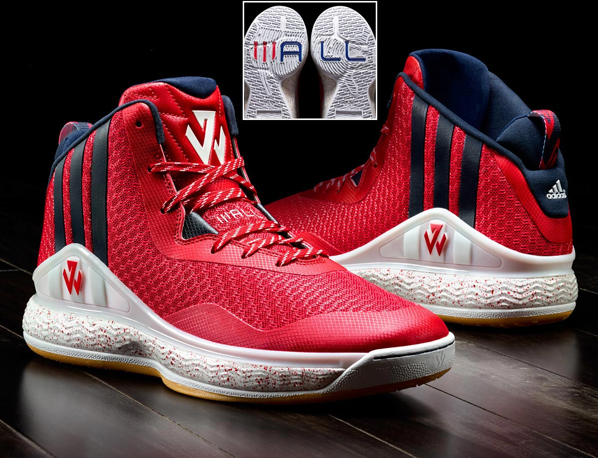 "The newest athlete to join the ranks of the signature shoe world, John Wall's first edition includes a graphic-filled textile for the upper and a lightweight translucent rubber outsole. You won't forget this is an adidas-made signature with the giant three stripes, but the new ""JW"" logo plays on the side and tongue. The bottom of the shoes—when put together—form a map of the country while spelling WALL."