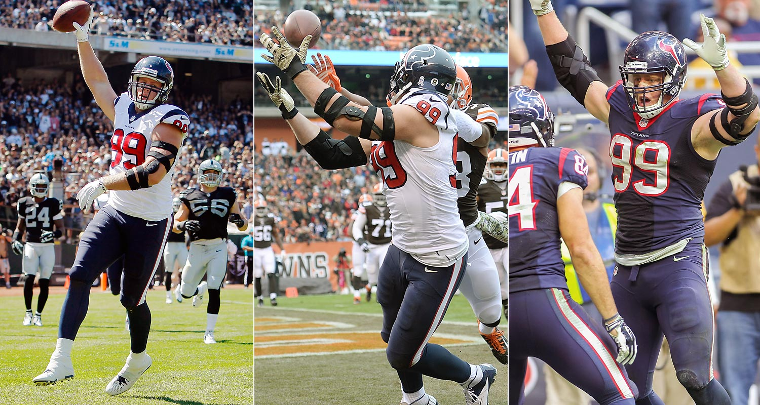Houston Texans defensive end J.J. Watt has caught three touchdown passes in the 2014 season -- an amazing feat for a guy who makes his living on defense. Watt caught a 1-yard scoring pass on the opening drive against Oakland in Week 2 (left) and added an impressive over-the-shoulder grab against Cleveland in Week 11 (right). In Week 13, he caught a one-yard pass from Ryan Fitzpatrick in Houston's 45-21 victory over Tennessee. Watt played tight end in college.
