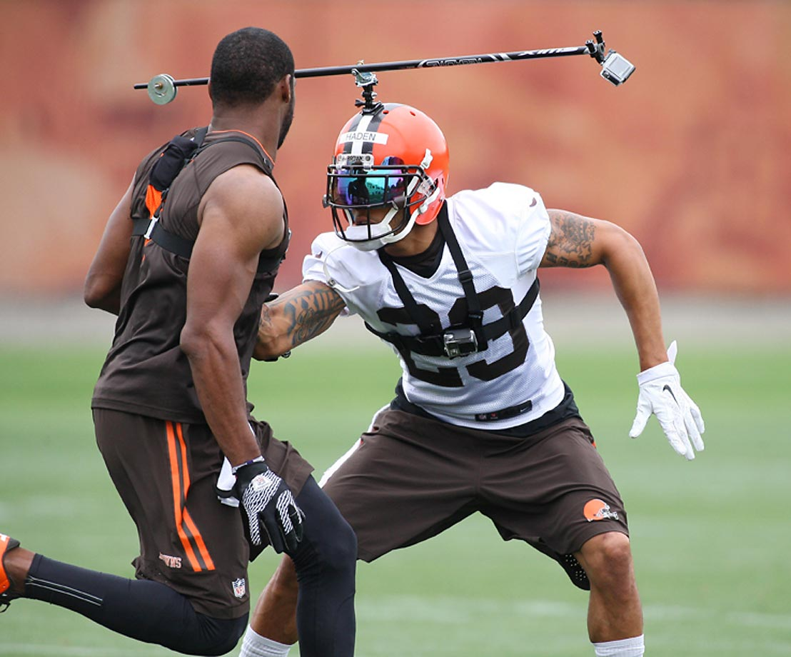 Cleveland Browns cornerback Joe Haden runs a drill at the Cleveland Browns Training Facility while being filmed for an NFL Network presentation.