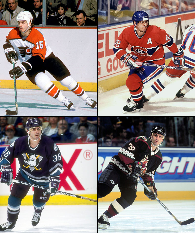 Vancouver to Philadelphia (6/6/86), Philadelphia to Montreal (11/7/88), Montreal to St. Louis (11/7/95), St. Louis to Pittsburgh (3/20/96), Pittsburgh to Anaheim (2/21/97), Anaheim to NY Islanders (2/6/98), Nashville to Phoenix (1/13/99)