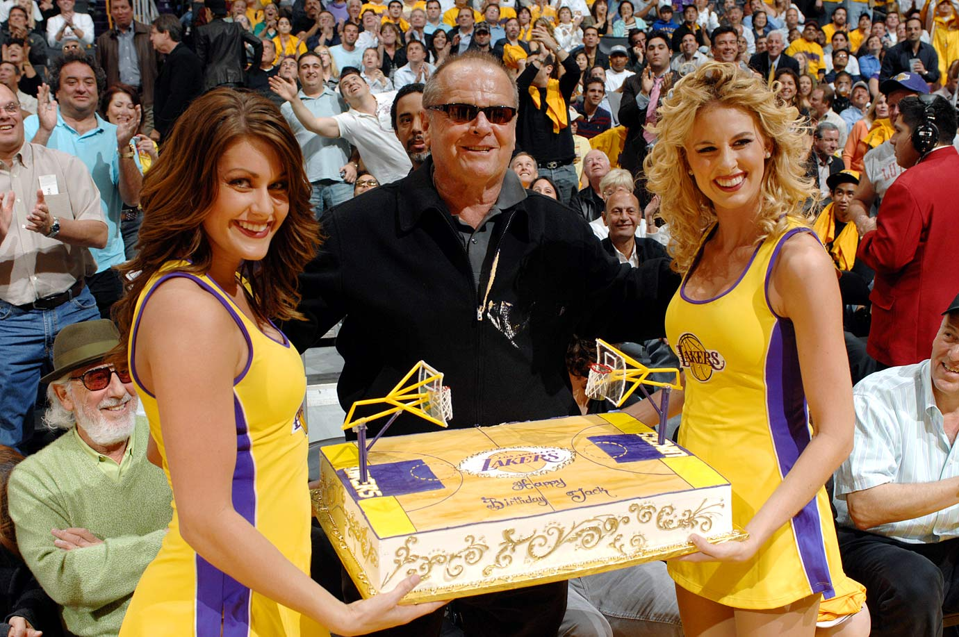 When you're a die-hard Lakers fan like Jack Nicholson, you get a big, golden cake and a pair of cheerleaders for your 70th birthday.