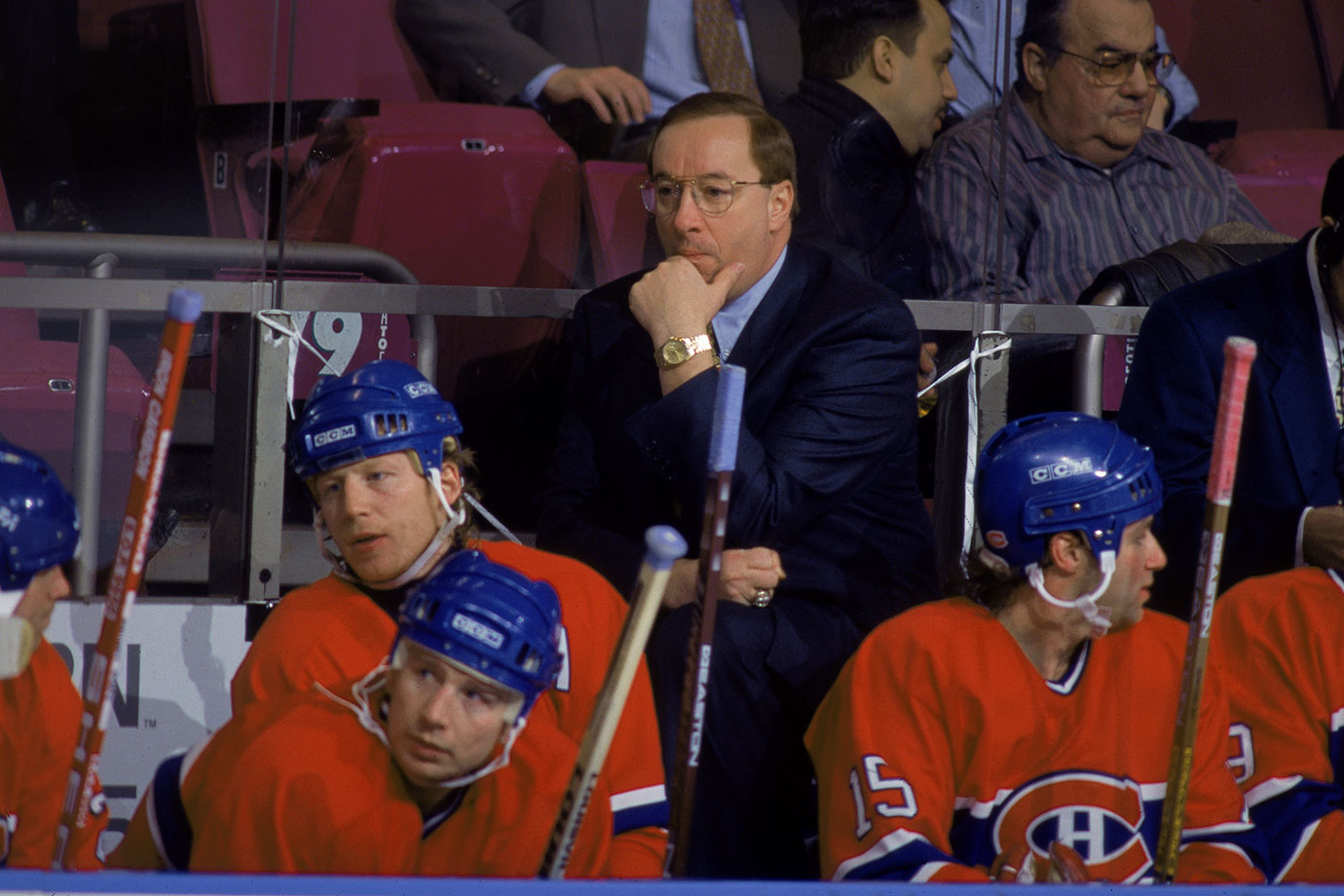 "When Montreal did not reach the 1995 playoffs—the first time in 25 years it had DNQed—the Habs' coach started the next season squarely on the hot seat. Demers' trousers burst into flames when the Habs got off to their worst start in 57 years (0-4). Team president Ron Corey then canned the coach and GM Serge Savard, saying ""You might think I'm pushing the panic button, but I am not."" The Habs then went on a 12-2 run, their season finally ending in the first round of the postseason."