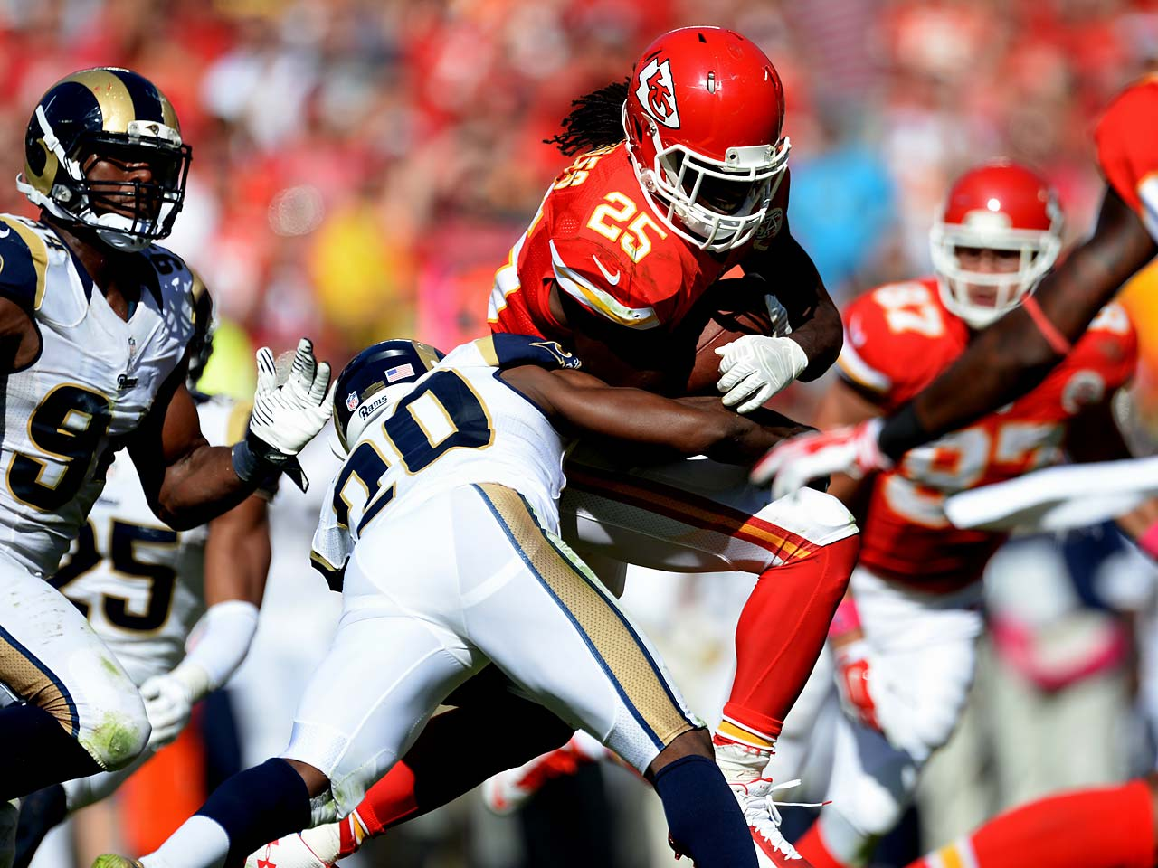 Jamaal Charles scored two touchdowns in Kansas City's 34-7 win over St. Louis.