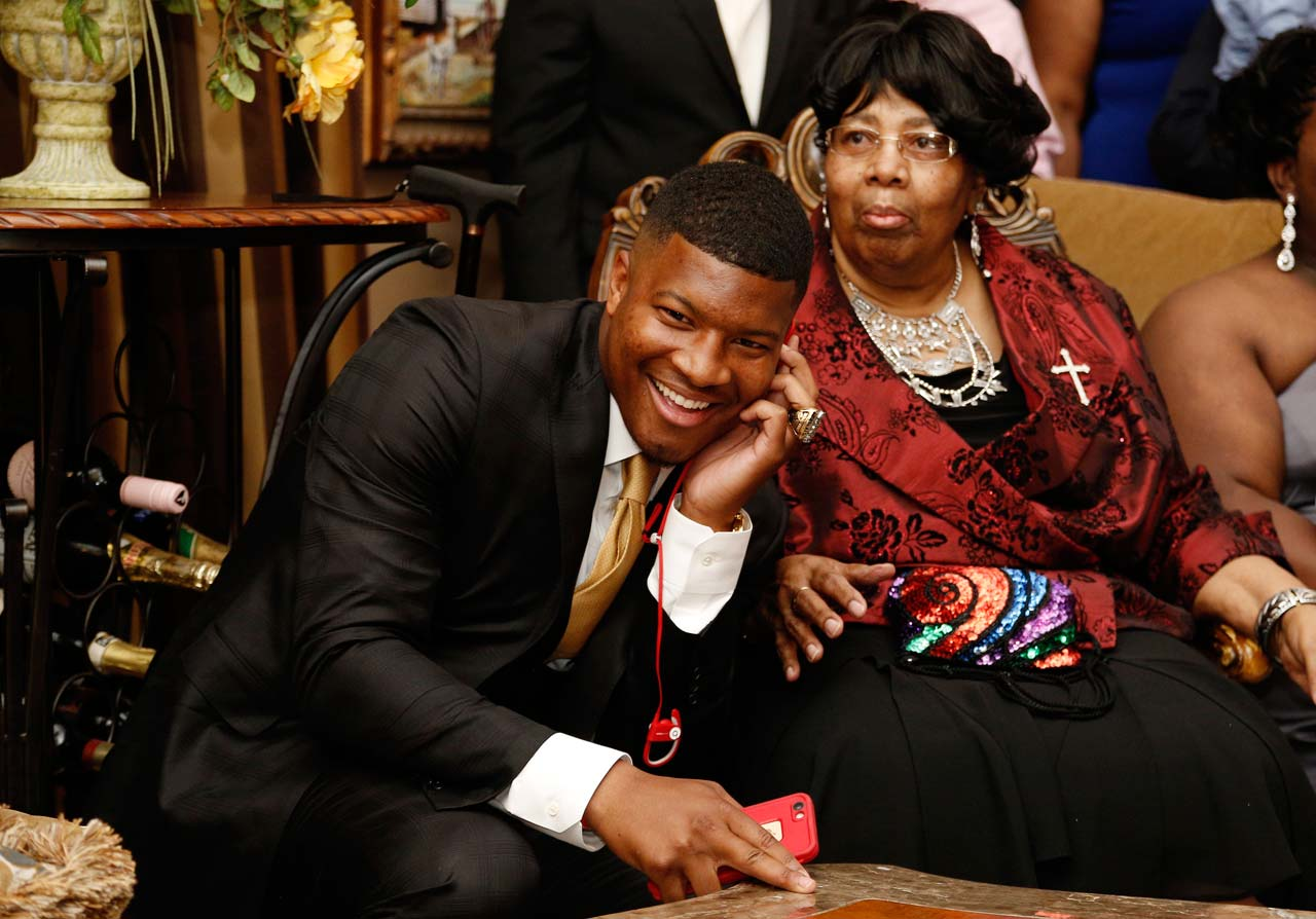 Jameis Winston takes the call from the Tampa Bay Buccaneers, who made him the first pick.