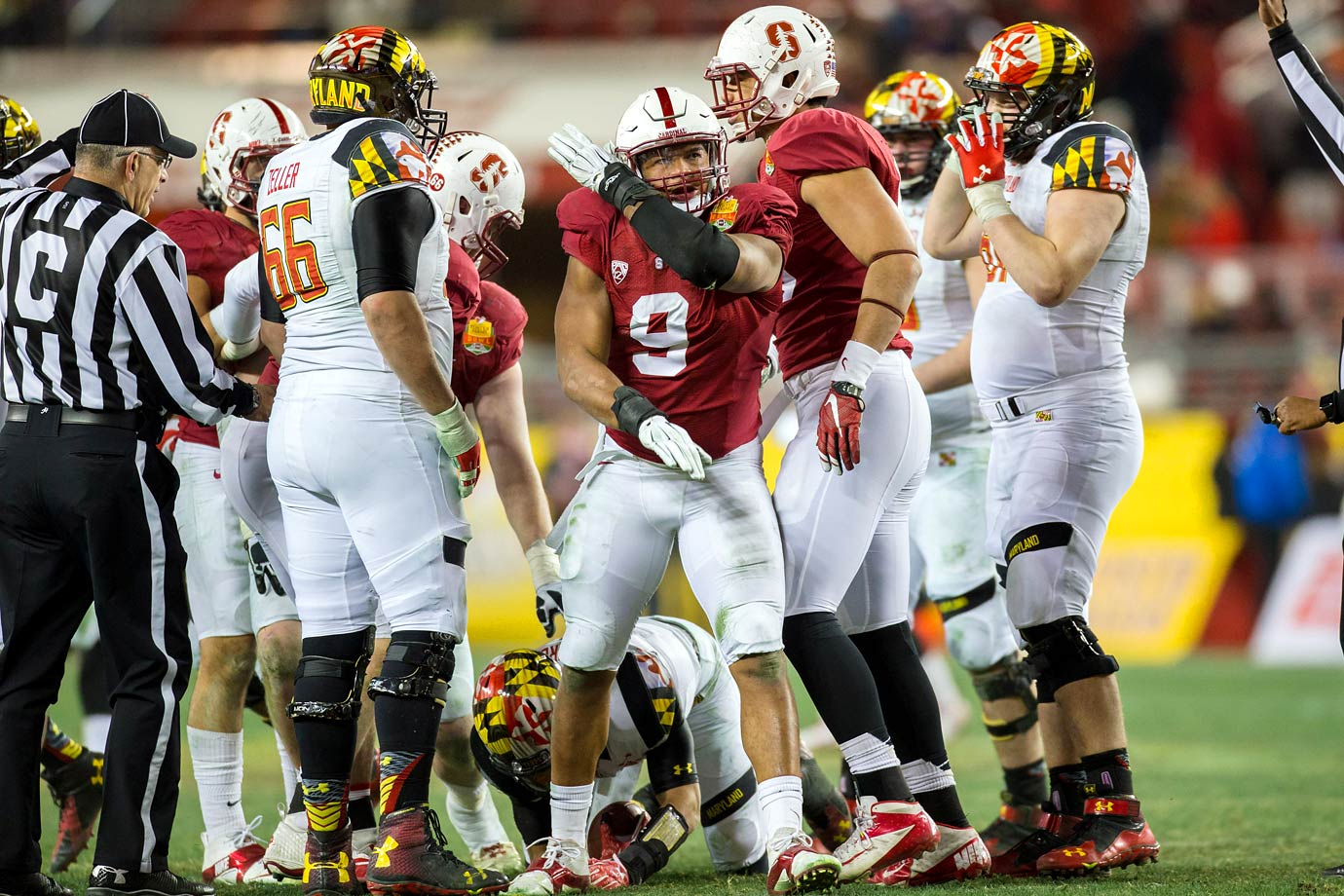Vaughters picked up two sacks and added to a potent run defense that held Maryland to 0.6 yards per carry.