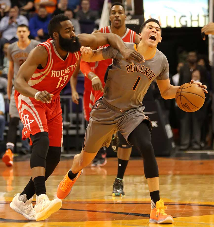 James Harden commits a flagrant foul on Devin Booker.