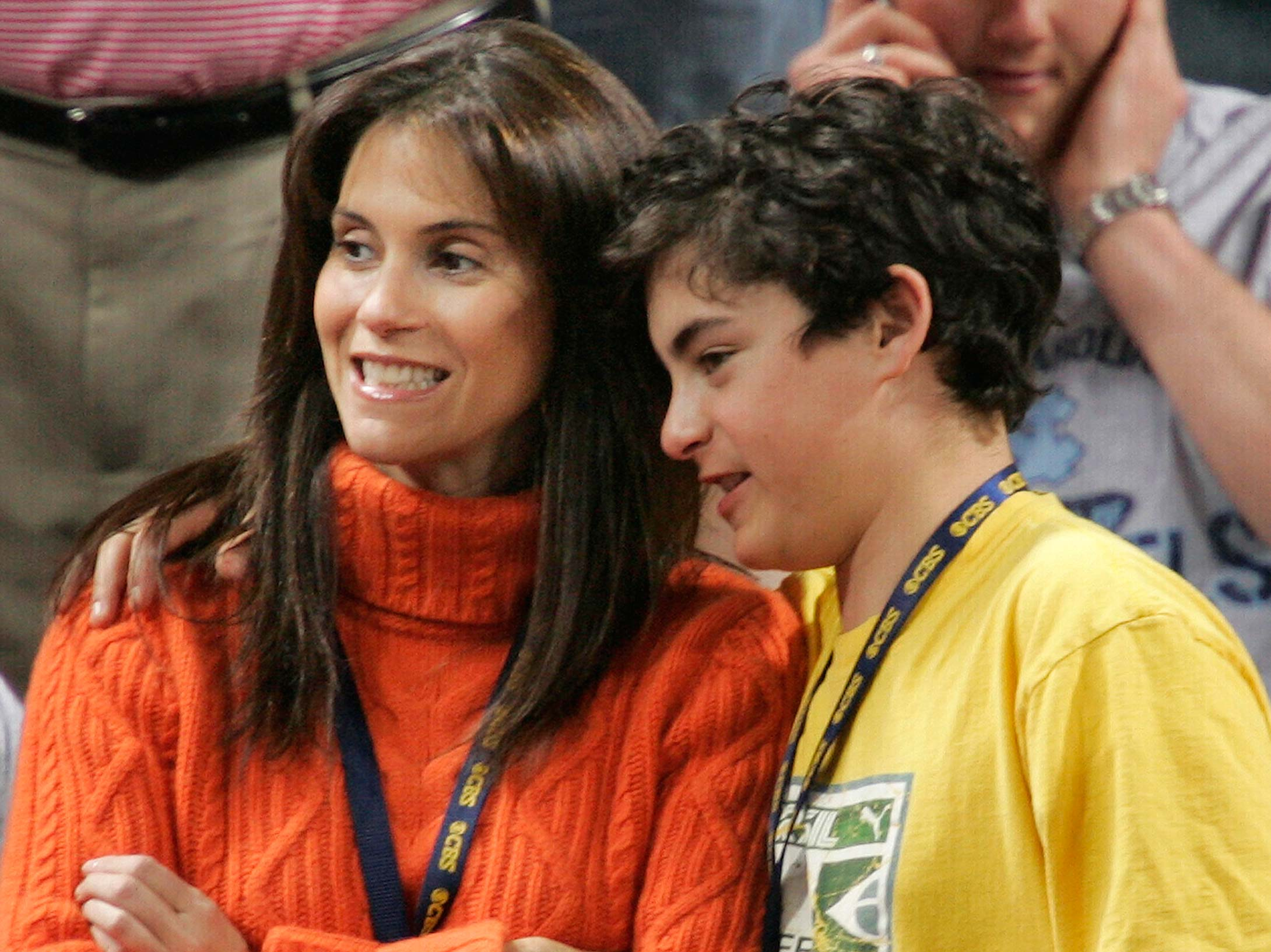 Actress Jami Gertz watches the 2005 Illinois/Louisville national semifinal with one of her sons at the Edward Jones Dome in St. Louis.