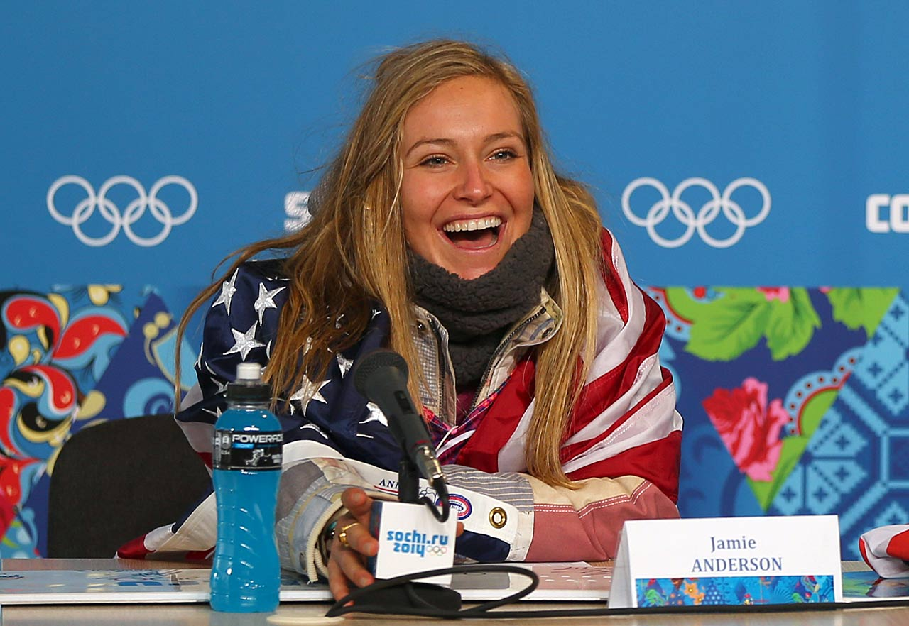 Gold medalist Jamie Anderson of the United States talks to the media at a press conference following the women's Snowboard Slopestyle Finals.