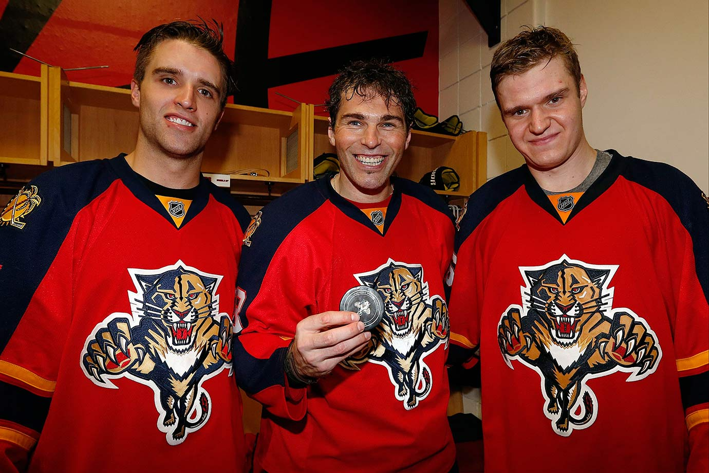 Seemed like hardly a game went by this year without some new milestone being set by ageless winger Jaromir Jagr (center), but two in particular stood out. On April 9, he assisted on Sasha Barkov's second period power play goal to record his 1,799th career point to move past Ron Francis into fourth on the all-time list. Then, on Dec. 20, he beat Ryan Miller for his 732nd career goal, vaulting him past Marcel Dionne into fourth place on that list.