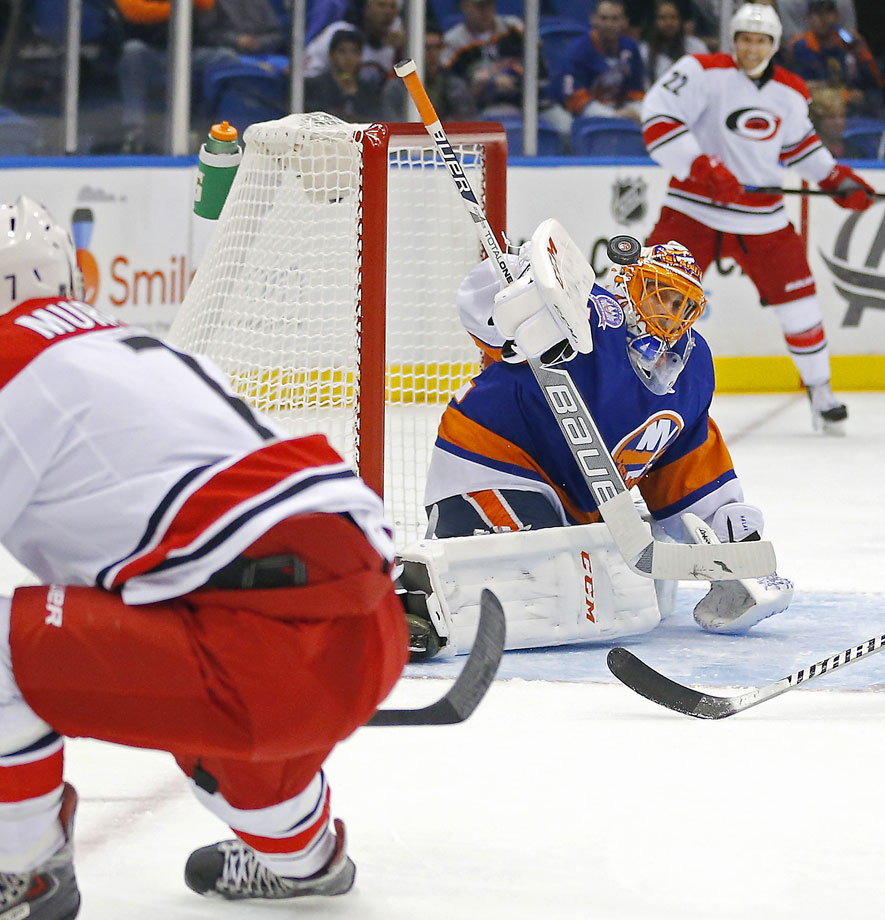 The Islanders filled one of their most pressing needs by signing the 29-year-old veteran to be their No. 1 stopper. The 2011-12 Jennings Trophy winner (with Brian Elliott in St. Louis) has a career mark of 144-85-29 with a 2.38 GAA, .918 save percentage and 30 shutouts. He also gives the Isles a playoff-tested netminder with 23 games worth of postseason experience and more than a puncher's chance of qualifying for the playoffs in the competitive Metro Division.