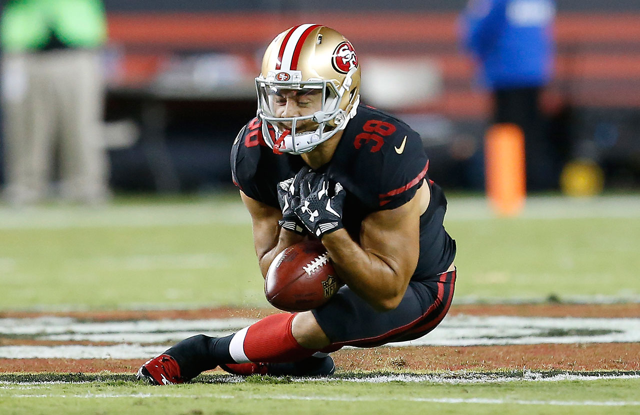 Former rugby star Jarryd Hayne fumbles a punt in his first NFL game with the San Francisco 49ers.