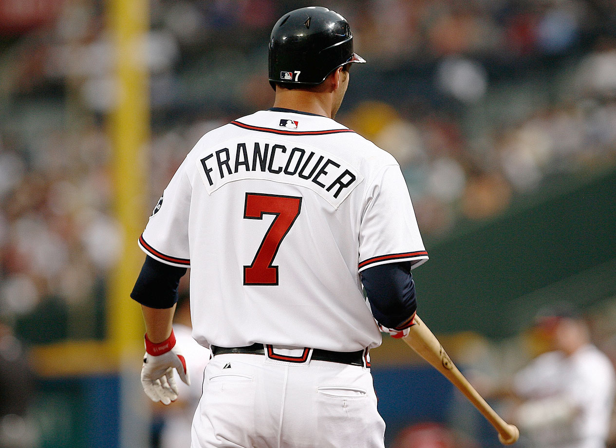 "Jeff Francoeur, wearing a jersey with the ""E"" and ""U"" in his name switched, went 0-for-4 with the Braves in a game against the Giants on Aug. 16, 2007."