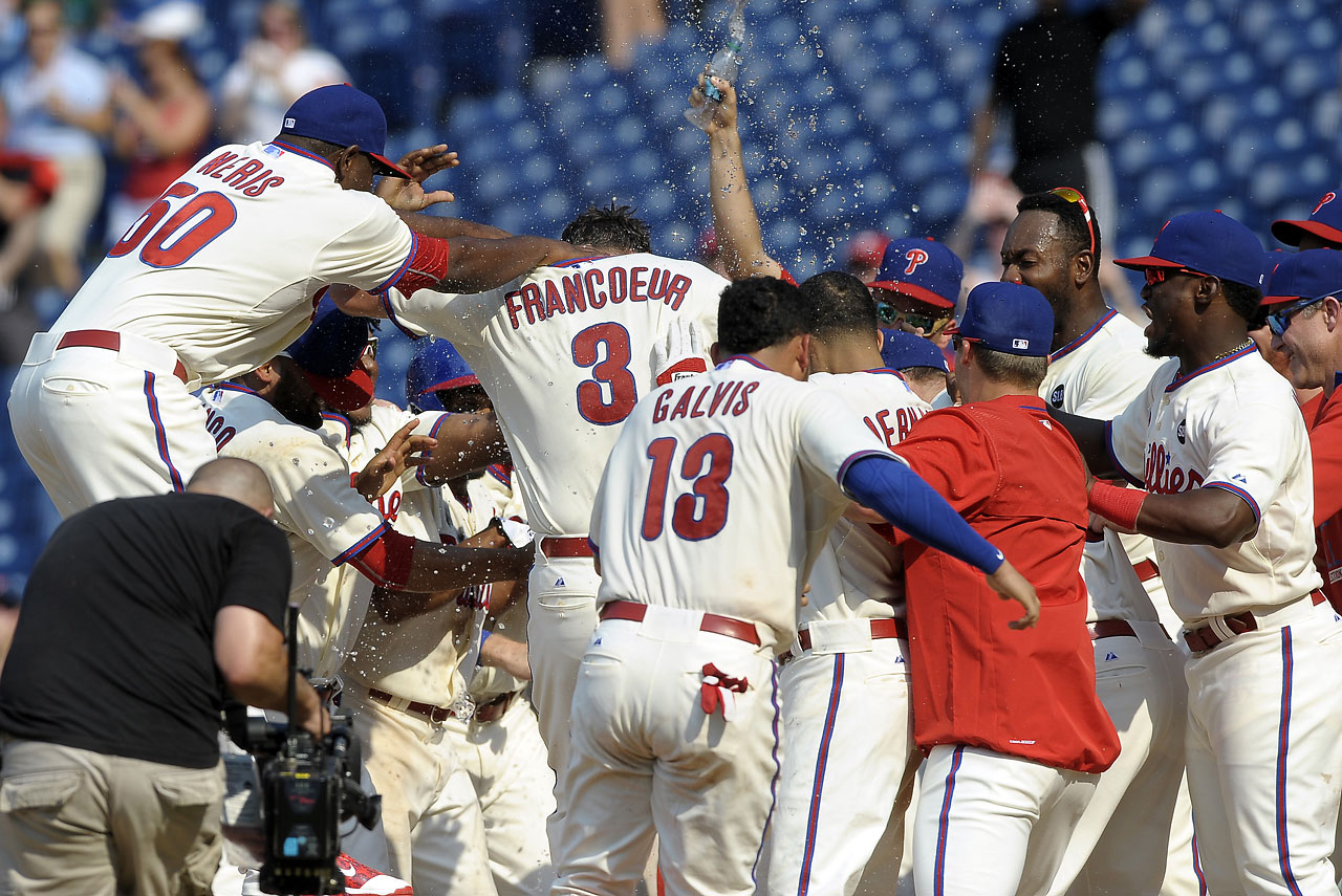 Philadelphia's Jeff Francoeur two-run shot on July 19 gave the Phillies an 8-7 victory over the Miami Marlins.