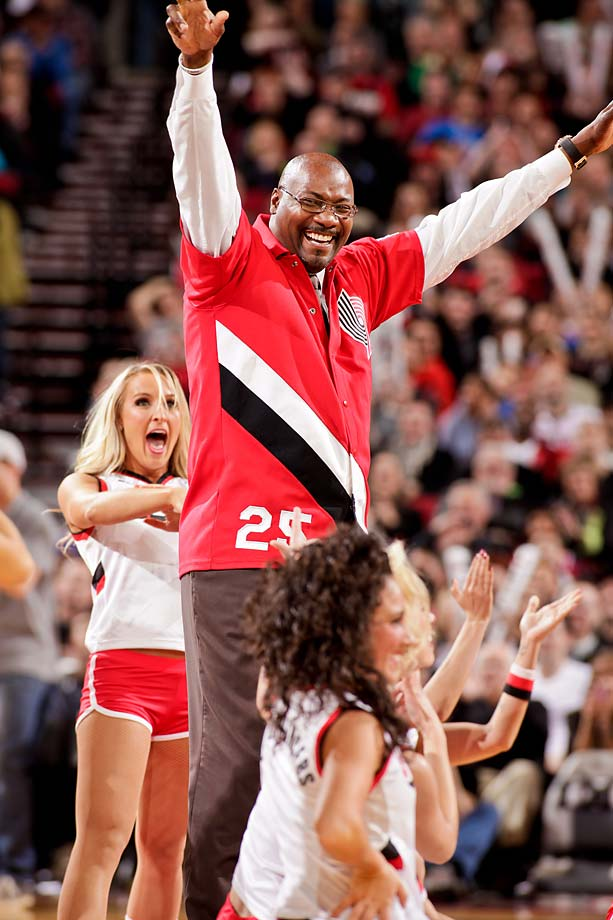 Jerome Kersey performs with the Blazer Dancers during a game between the Oklahoma City Thunder and Blazers on April 12, 2013 at the Rose Garden Arena in Portland.
