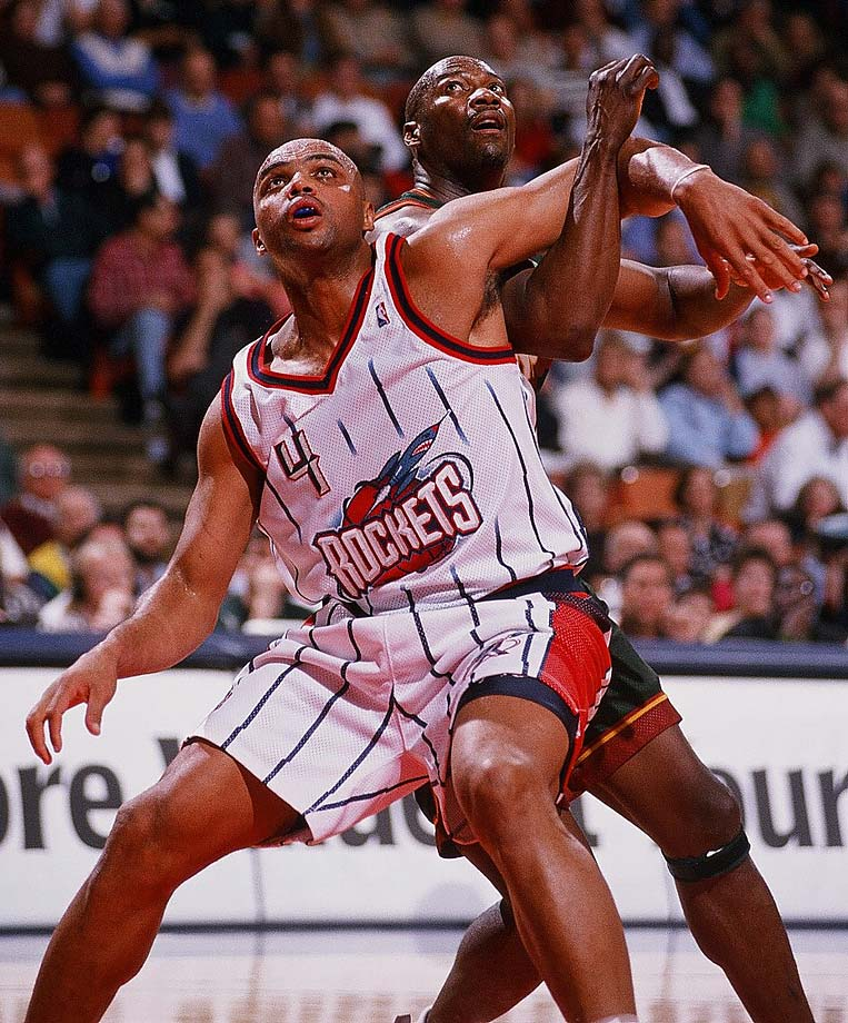 Charles Barkley and Jerome Kersey battle for position during a 1998 game in Houston.