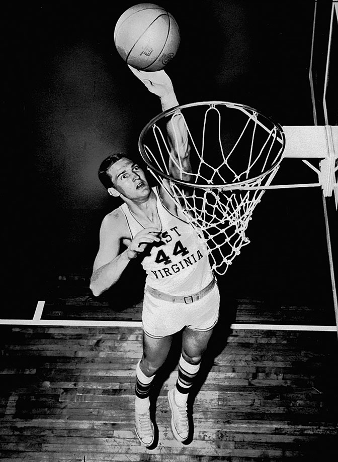 Before his likeness was on the NBA logo, West spent three dominant years at West Virginia. A two-time first-team All-America, West averaged a double-double each season. The Mountaineers lost to Cal in the championship game his junior season despite 28 points and 11 rebounds from West. He was named the Final Four's Most Outstanding Player.