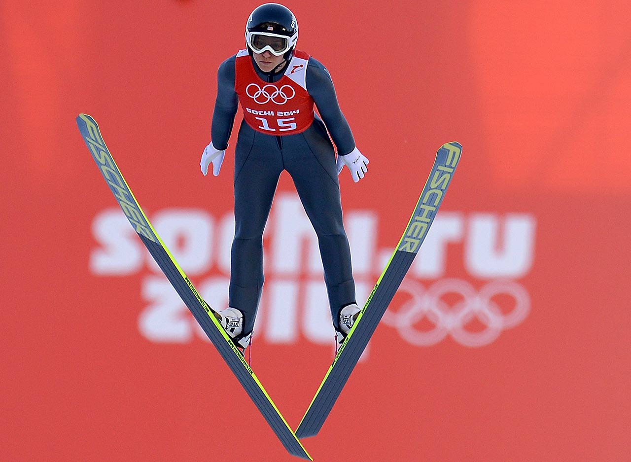 Jessica Jerome of the United States jumps during the Ladies' Normal Hill Individual Ski Jumping training.