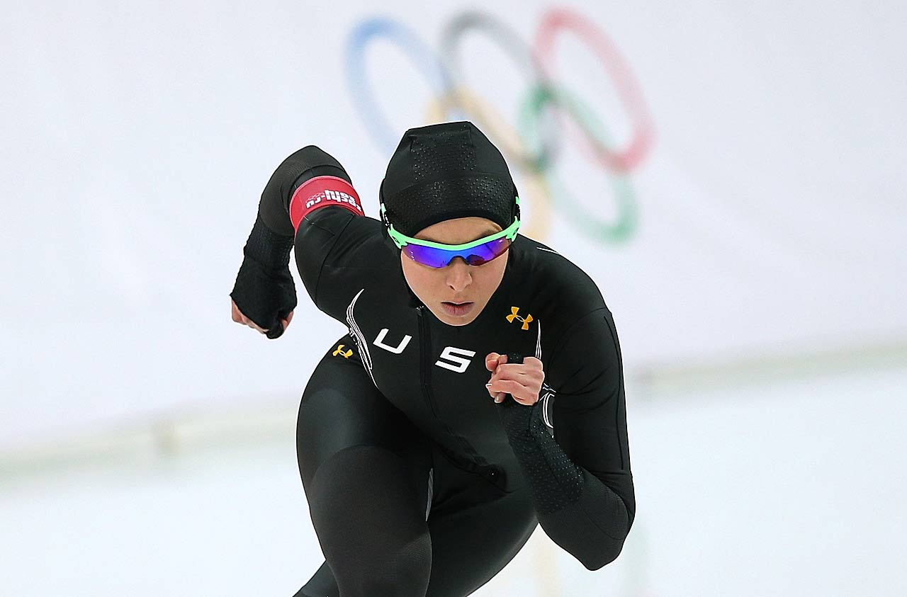 Jilleanne Rookard of the United States competes during the women's 3000m Speed Skating event.