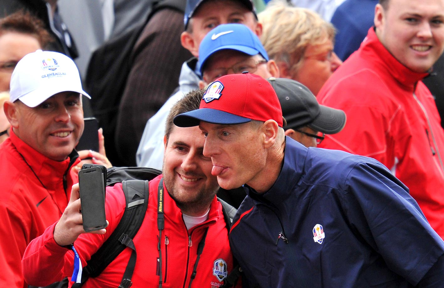 Jim Furyk of Team U.S. poses for pictures during practice at the Ryder Cup.