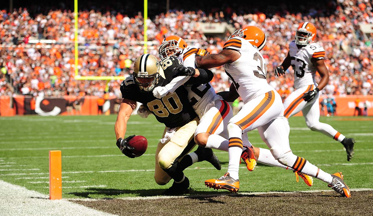 Jimmy Graham muscles his way in for one of this two touchdowns.