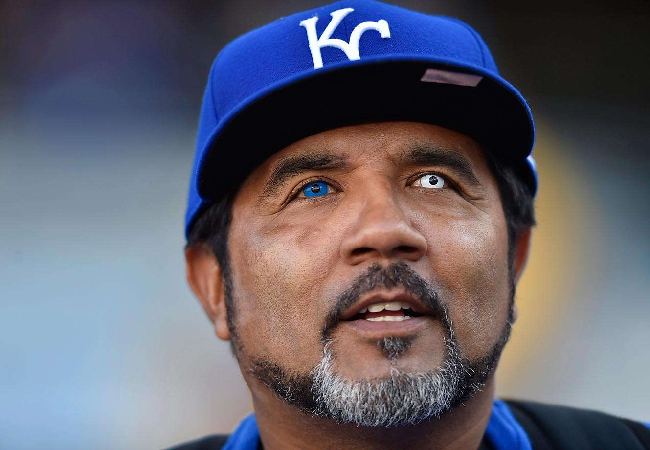 Jimmy Reyes wearing special blue and white contacts at an ALDS playoff game.